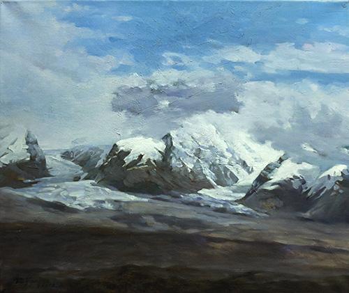 油画雪山风景 简单